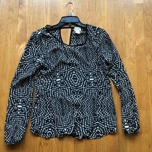 Eyelash Couture Black and White Patterned Blouse